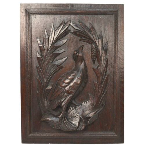 Antique Carved Oak Architectural Salvaged Louis XIII Hunt Panel of Bird
