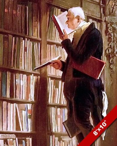 FUNNY LIBRARY LIBRARIAN READING BOOKS STUDY OFFICE CANVAS GICLEE 8X10 ART PRINT