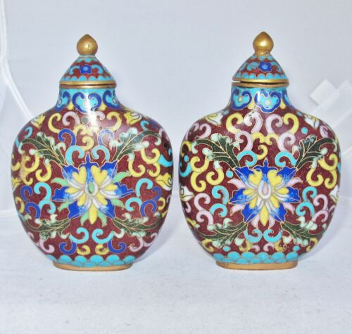 """2 Antique ? Big Chinese Cloisonne Famille Rose Style Snuff Bottles  (3.9"""")"""