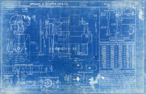"Vintage Blue Print Poster - Auto Screw Machine High Speed Motor Drive 16"" x 24"""