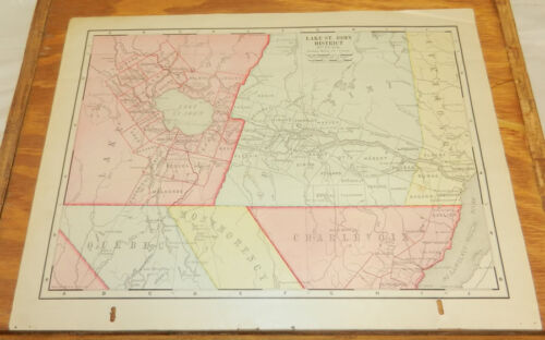 1900 Antique COLOR Map/LAKE ST. JOHN DISTRICT and AREA, CANADA