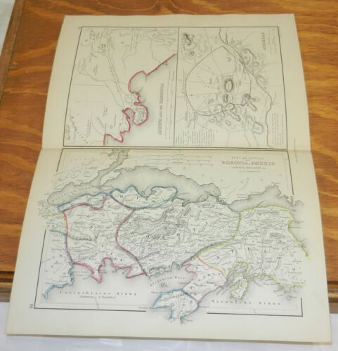 1861 Antique COLOR Map/ATHENAE (ATHENS) and its HARBORS, ATTICA/GREECE/Classical