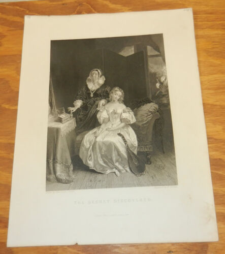 1844 Antique Print/THE SECRET DISCOVERED Two Ladies