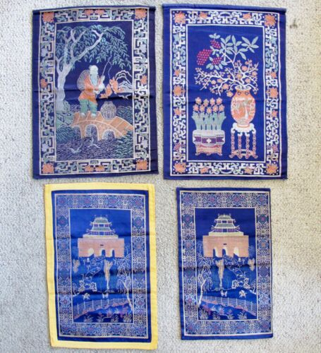 "4 Vintage Chinese Blue Brocade Fabric Panels with Pagodas & Landscapes  (18"")"