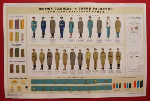 Soviet MILITARY POSTER Army Officer Uniform Insignia & Shoulder Boards 1989 OrigOther Militaria - 135