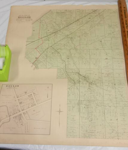 1892 COLOR Plat Map,CUYAHOGA Co,OH/SOUTH pt EUCLID TOWNSHIP b/w NORTH pt BEDFORD