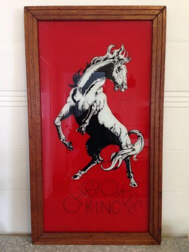 VINTAGE HORSE WALL HANGING HARDWOOD & GLASS FRAMED 'CHEROKEE KING' HEAVY.