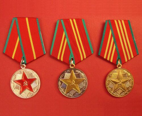 LOT OF 3 Soviet Long IRREPROACHABLE SERVICE Medals Army Navy ORIGINAL USSR MINT!Medals, Pins & Ribbons - 104024