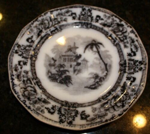 18th/early19thC DAVENPORT England Ironstone Flow Black Mulberry Plate 'Cyprus'