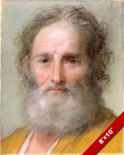 BEARDED MAN IN ROBE POSSIBLE SAINT PETER PAINTING BY LUTI ART REAL CANVAS PRINT