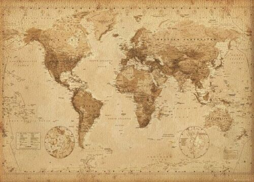 MAP OF THE WORLD (LAMINATED) POSTER 40X50CM '' WALL CHART '' NEW