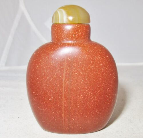 """Vintage ? 2.35"""" Chinese Gold Stone / Goldstone Snuff Bottle with Carnelian Agate"""