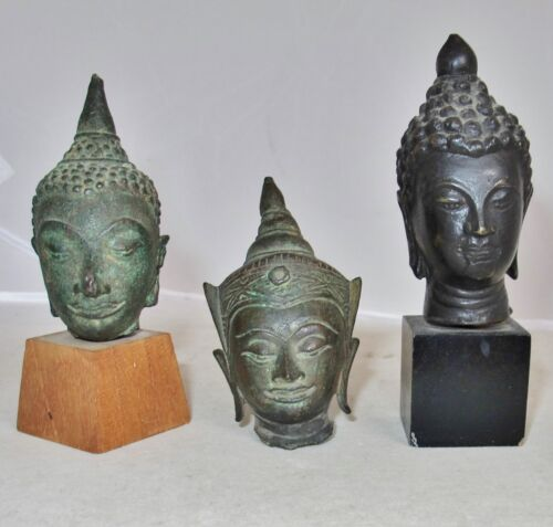 "3 Antique Chinese, Tibetan or South Asian Bronze Buddha Heads  (4.15"" to 3.1"")"