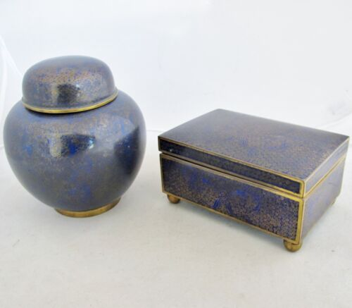 "Antique Chinese Cobalt Blue Cloisonne 5.5"" Cigarette Box & 5.4"" Ginger Jar"