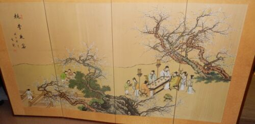 HUGE OLD CHINESE PEOPLE BLOSSOMS WATERCOLOR SILK 4 PANEL SCREEN PAINTING SIGNED