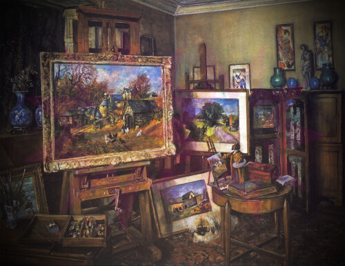 Vintage painting Repro/James McIntosh Patrick/The Artist's Studio Dundee/Poster