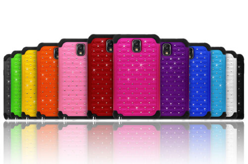 Luxurious Sparkly Studded Bling Diamond Hybrid Case Cover For Galaxy Note 3 III