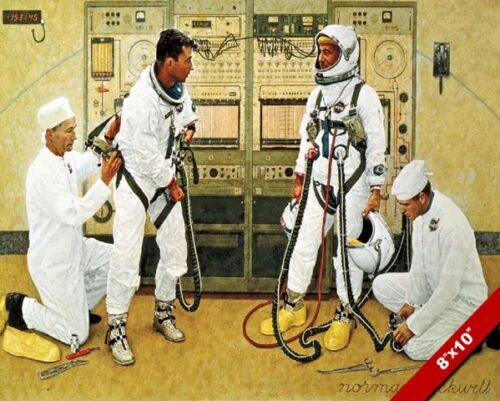 NASA ASTRONAUT GRISSOM & YOUNG IN SUIT NORMAN ROCKWELL PAINTING ART CANVAS PRINT