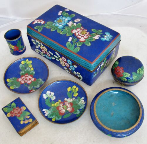 "Antique Chinese Blue Cloisonne Smoking Set with Big 6.75"" Box & 6 Other Pieces"