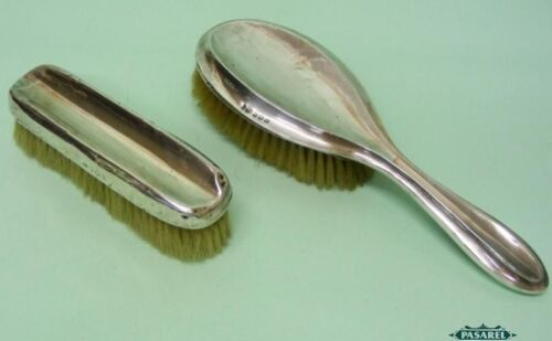 Sterling Silver Mounted Hair And Clothes Brushes Birmingham England 1919/46