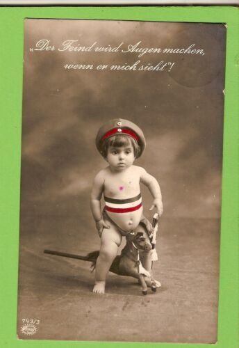 #BB.   1916   WWI  GERMAN  POSTCARD -  YOUNG BOY WITH TOY HORSE