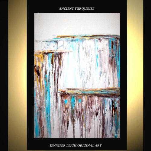 """ORIGINAL LARGE ABSTRACT CONTEMPORARY MODERN ART PAINTING White  36x24"""" JLEIGH"""