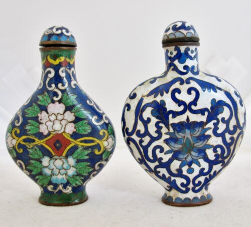 2 Antique ? Chinese Cloisonne Famille Rose Style Snuff Bottles w/ Qianlong Marks