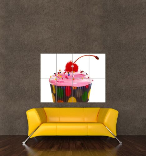 POSTER PRINT GIANT FOOD DRINK PHOTO CUPCAKE CHERRY CAFÉ KITCHEN DINER PAMP187
