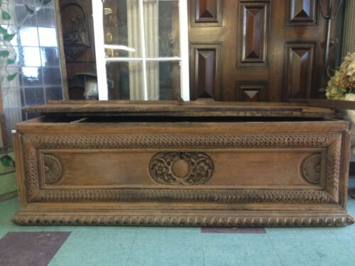 Huge 1800,s Spanish Revival Spanish Mediterranean Style Carved Wood  Old Trunk