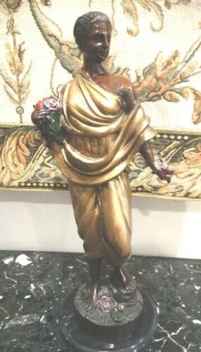 "Antique 1800's Art Nouveau 16"" Tall Bronze Sculpture Draped in Gold Tunic"