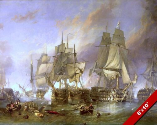 BATTLE OF TRAFALGAR PAINTING BRITISH FRENCH SPANISH NAVY WAR ART CANVAS PRINT