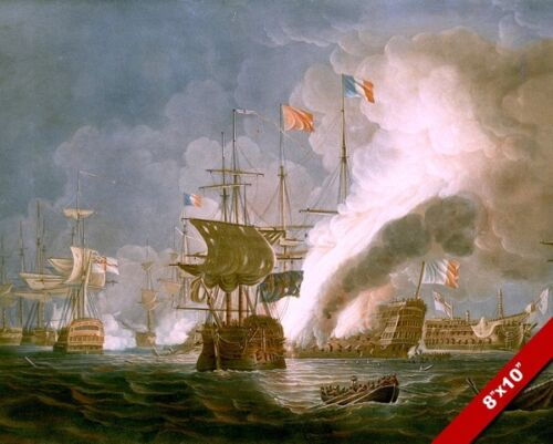 NAVAL BATTLE OF THE NILE PAINTING FRENCH REVOLUTIONARY WAR ART REAL CANVAS PRINT