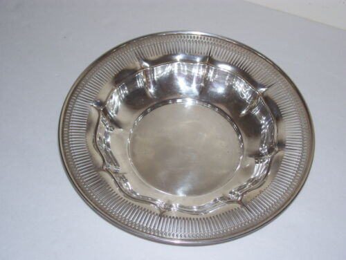 Antique Sterling Silver Fluted & Pierced Bowl Dish - 148.9 Grams