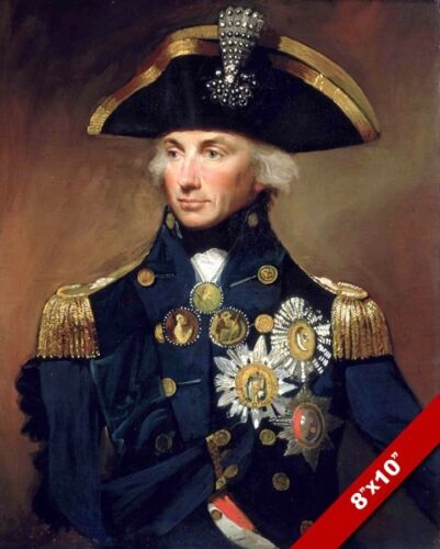 BRITISH ROYAL NAVY ADMIRAL LORD NELSON PORTRAIT PAINTING ART REAL CANVAS PRINT