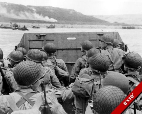 US SOLDIERS D-DAY INVASION OMAHA BEACH WORLD WAR 2 WWII PHOTO CANVASART PRINT