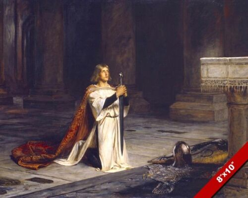 MEDIEVAL KNIGHT VIGIL OATH BEFORE ALTAR OF GOD PAINTING REAL CANVASART PRINT