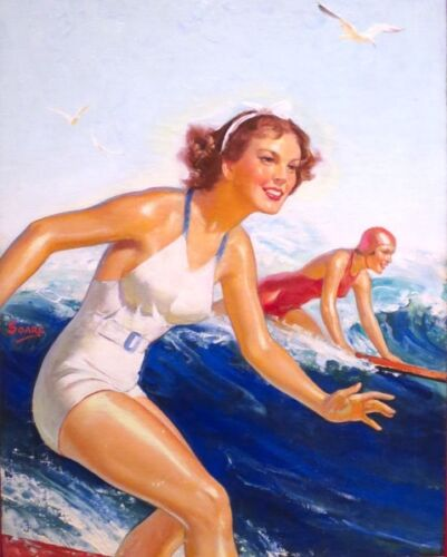 RETRO SURFING SURFER GIRLS RIDING WAVE POSTER PAINTING REAL CANVASART PRINT