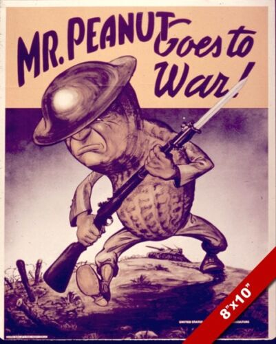 MR PEANUT GOES TO WAR US WWII PROPAGANDA POSTER PAINTING REAL CANVAS ART PRINT