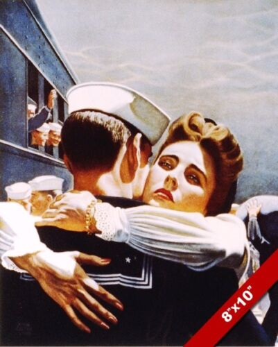 BRING HIM HOME WWII US NAVY SAILOR & WIFE GOODBYE PAINTING REAL CANVAS ART PRINT