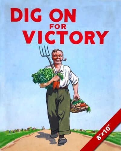 WWII BRITISH VICTORY GARDEN WAR PROPAGANDA POSTER PAINTING REAL CANVAS ART PRINT