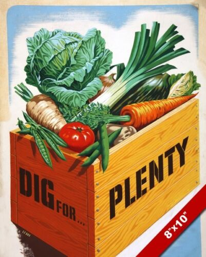 WWII VICTORY GARDEN GROW FOOD PROPAGANDA POSTER PAINTING REAL CANVAS ART PRINT