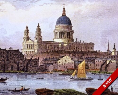 ST PAUL'S CATHEDRAL LONDON ENGLAND & RIVER THAMES PAINTING ART REAL CANVAS PRINT