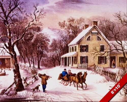 AMERICAN HOMESTEAD IN WINTER SLEIGH RIDE COUNRTY PAINTING ART REAL CANVAS PRINT