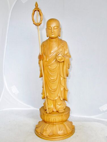 """15.3"""" Vintage Chinese Carved Wood or Boxwood Buddha or Monk on Lotus Stand"""