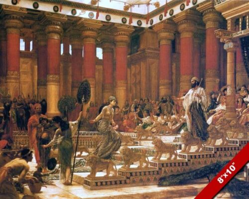 QUEEN OF SHEBA VISITS KING SOLOMON OF ISRAEL PAINTING ART REAL CANVAS PRINT