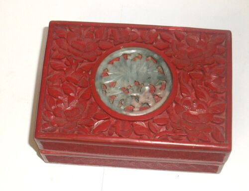 OLD CHINESE CARVED CINNABAR LACQUER CARVED FLORAL WHITE & GREEN JADE ENAMEL BOX