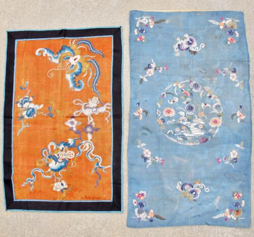 """2 Antique Chinese Embroidery Silk Panels w/ Butterflies & Flowers  (31"""" & 26.5"""")"""