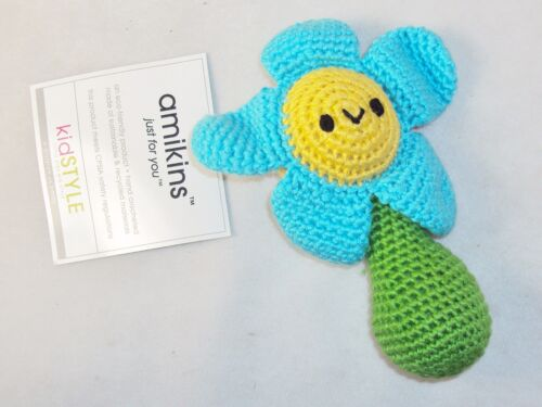 Hand Crocheted Baby Rattle, Toy ~ Blue & Yellow Flower Face ~ Amikins KidStyle