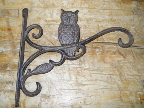 Cast Iron HOOT OWL Garden Plant Hook Rustic BROWN Finish Hooter
