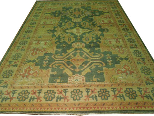New Oushak Oriental Rug Green & Gold